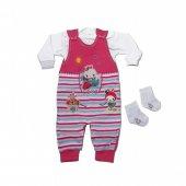 3 Parça Kız Bebek Takım Tulum + Body + Çorap