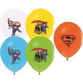 24lü Superman Karışık Balon Doğum Günü Partisi, Helyumla Uçan