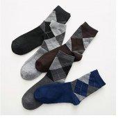9lu Paket Erkek Pamuklu Desenli Çorap