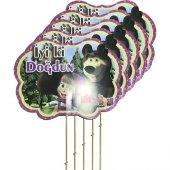 5 Adet Maşa İle Koca Ayı Konuşma Balonu Çubuğu Parti Çubukları