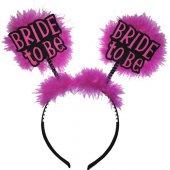 Koyu Pembe Fuşya Tüylü Bekarlığa Veda Parti Tacı Bride To Be