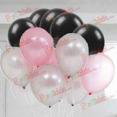 30 Adet Metalik Gümüş Gri Şeker Pembe Siyah Balon Helyumla Uçan