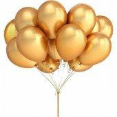 25 Adet Metalik Lateks Balon Altın Renk