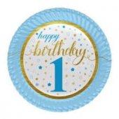 8li Erkek Happy Birthday 1 Yaş Tabak 1 Yaş Gold Mavi Tabak 8 Adet