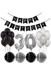 Siyah Gümüş 30 Yaş Doğum Günü Seti 30 Yaş Partisi