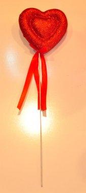 Kırmızı Simli Kalp Metal Çubuk Sevgililer Günü Özel