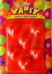 Kırmızı Renk 6 Kalpli Mum Sevgililer Günü Özel