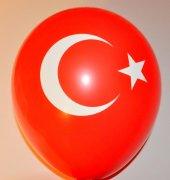 100 Adet Türk Bayrağı Balon Ay Yıldız Kırmızı Renk Balon