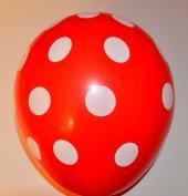 100 Adet Kırmızı Puantiyeli Balon Kırmızı Beyaz Puantiyeli Balon