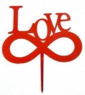 Love Yazılı Kırmızı Pleksi Pasta Yazısı