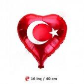 35 40 Cm Küçük Kırmızı Türk Bayraklı Kalp Folyo Balon