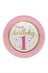 8 Li Kız Happy Birthday 1 Yaş Tabak 1 Yaş Gold Pembe Tabak 8 Adet