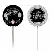 Happy Birhday Gümüş İkramlık Kürdan Doğum Günü Yetişkin Kürdanı