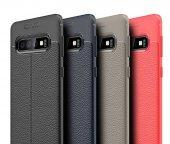 Samsung Galaxy S10 Plus Kılıf Deri Görünümlü Niss Silikon Arka Ka