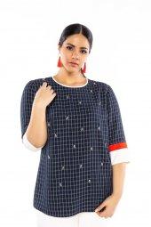 Fg Plus Kare Desenli Taş Detaylı Büyük Beden Bluz 9204 Lacivert