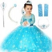 Frzoen Elsa Çocuk Kostümü - Tarlatanlı Uzun Kollu Simli Kostüm + Full Set