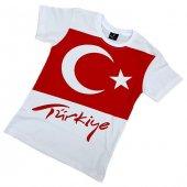 Türk Bayrağı Baskılı Beyaz Çocuk Tişörtü 23...