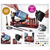 özel Tasarım Ahşap Aynalı Telefon Standlı Mini Kozmetik Organizer