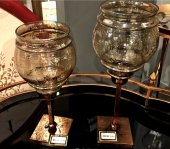 Sadehomedecor Lucky Art Amber Camlı Mumluk 39 Cm 34 Cm (2 Li Set)