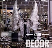 SadeHomeDecor lucky art gümüş renk melek kanat dekor 68cm/41cm (3 lü set takım)