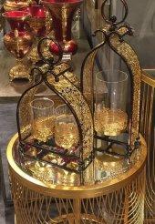 Sadehomedecor Lucky Art Gold Telkarı Mumluk 50 Cm (1 Adet Tekli Mumluk)