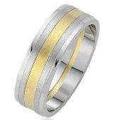 Sarı Beyaz Gümüş Erkek Alyans Söz Nişan Yüzüğü...