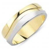 Sarı Beyaz Gümüş Erkek Alyans Sade Söz Yüzüğü...