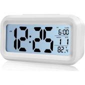 Akıllı Dijital Masa Saati / Karanlık Sensörlü / Fotoselli / Alarm / Termometre / Takvim / Saat