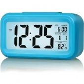 Akıllı Dijital Masa Saati / Karanlık Sensörlü / Fotoselli / Alarm / Termometre / Takvim / Saat -2