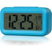 Akıllı Dijital Masa Saati / Karanlık Sensörlü / Fotoselli / Alarm / Termometre / Takvim / Saat -6