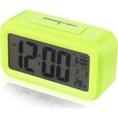 Akıllı Dijital Masa Saati / Karanlık Sensörlü / Fotoselli / Alarm / Termometre / Takvim / Saat -7