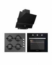 Luxell Kristal Serisi Siyah Cam Üç 3lü Ankastre Set