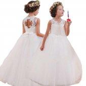 çocuk Gelinlik Düğün Elbisesi Dantelli Beyaz Tüllü...