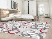 Karışık Renk Gri, Kırmızı, Beyaz Yatak Odası Halısı - HS91382C-3