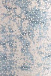 Mavi Tonlarında Mozaik Desenli Modern Mutfak Halısı Hs91003m