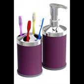 Mor Tezgah Üstü 250 Cc Sıvı Sabunluk Diş Fırçalık Seti