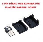 Mikro Usb 5 Pin Konnektör Plastik Kapaklı Soket