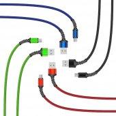 Blackberry Key 2 Type C Usb Şarj Kablosu Hasır Örgü Kopmaz Pil Ko