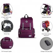 My Valice Smart Bag Mother Star Usbli Anne Bebek Bakım ve Sırt Çantası Açık Yeşil-7