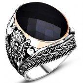 Osmanlı Armalı Siyah Taşlı Gümüş Erkek Yüzük Msr378