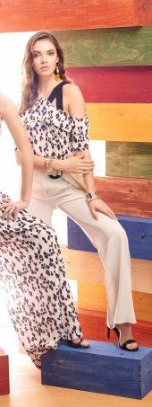 Miarte Toka Detaylı Kemerli Geniş Paça Bayan Pantolon 16175 Bej