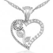 Kalbimin Gülü Kalpli Gümüş Kolye Wsn07