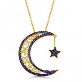 Gümüş Ay Yıldız Kolye Lacivert Taşlı Wsn65