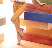 Miarte Cep Detaylı Dar Paça Bayan Pantolon 16204 Safran