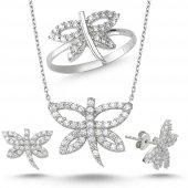 Yusufçuk Üçlü Gümüş Kolye Küpe Ve Yüzük Seti Wss01y