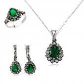 Yeşil Taşlı Bayan Gümüş Kolye Yüzük Ve Küpe Seti Yst01