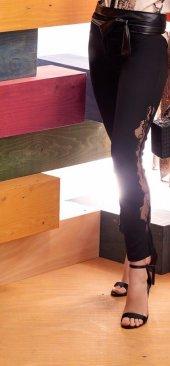 Miarte Dantel Detaylı Dar Paça Bayan Pantolon 16218 Siyah