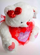 Sevgililer Gününe Özel Kalpli Kurdelali Pelus Ayi 50 Cm