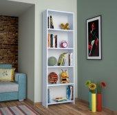 Alkur Home Line Kitaplık Kütüphane 5 Raflı Beyaz Sb204