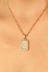 Gold Renk Metal Plaka Tasarım Zincirli D Harfi Bayan Kolye-2